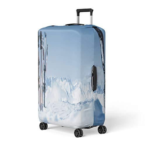 Snowboard Equipment Rentals - Semtomn Luggage Cover Snowboard Skis in the Snow Equipment Rental Austria Winter Pitztal Travel Suitcase Cover Protector Baggage Case Fits 26-28 Inch