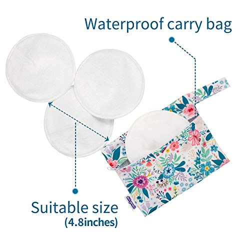SoarwgKids Organic Cotton Nursing Pads for Mom, Super Absorbent Nursing Pad Washable Reusable Breast Pads for Breastfeeding, 8 Pack with Waterproof Carry Bag & Laundry Bag