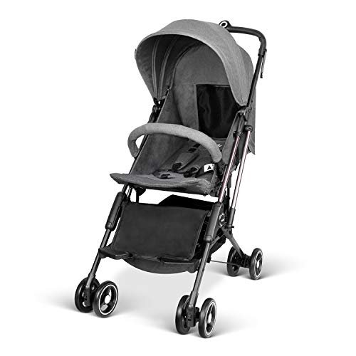 Besrey Airplane Stroller One Step Design for Opening & Folding Lightweight Baby Stroller for Infant Convertible Baby Carriage - Gray
