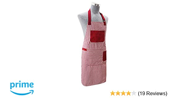 Striped Cotton Bib Apron with Pocket or Double Oven Glove Kitchen Baking Cooking