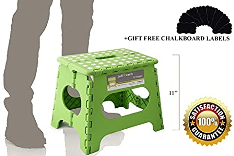 11 Inch Non Slip Folding Step Stool For Kids and Adults with Anti Slip Pads, Handle and Light Weight. Great For Kitchen, Bathroom, Office, Garden, Camping. HOLDS UP TO 300 LBS