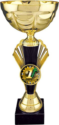 Decade Awards Top Sales Gold Metal Cup Trophy | Corporate Award | 12 Inch - Free Engraved Plate on Request ()