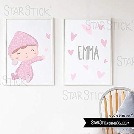 Pack de 2 láminas de cuadro decorativas para bebé personalizadas – Bebé besitos Rosa + Lámina con nombre - A4-210 x 297 mm: Amazon.es: Hogar