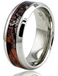 Stainless Steel Brown Wood Camouflage Beveled Edge 8mm Ring