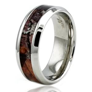 Stainless Steel Brown Woods Camouflage Beveled Edge Ring w/ Personalized Engraving, Size 7