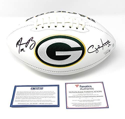 (Aaron Rodgers Clay Matthews Green Bay Packers Dual Signed Autograph Embroidered Logo Football Side Panel Steiner Sports Fanatics Authentic Certified)