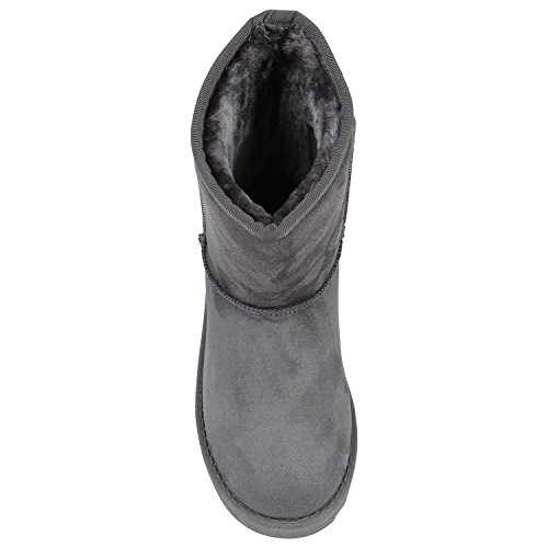Warm Gefütterte Boots Schlupfstiefel Strass Blumen Schleifen Pailletten Schuhe Kunstfell Stiefel Nieten Booties Winterstiefel Flandell Grau Brito