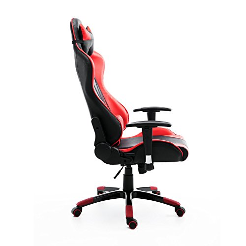 HomCom Executive Gaming Racing Reclining Office Chair Red Black Gaming Ch