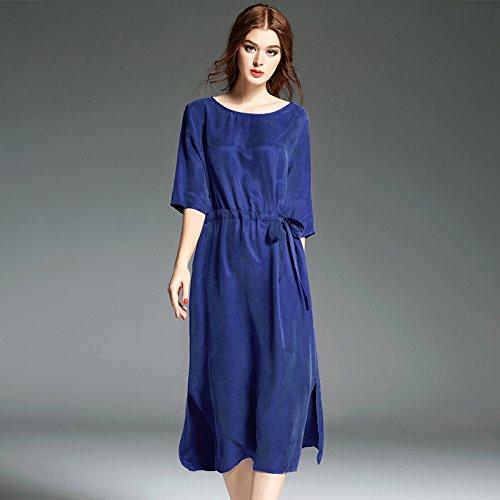 Bleu marine XL Le T - Shirt De Printemps De Grande Taille Fine Robe De Soie Lourdes Coupe Simple Robe