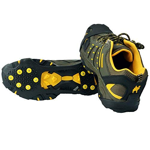 Ice Grips,Crampons Non-Slip Ice & Snow Grips Cleat Over Shoe/Boot Traction Cleat Rubber Spikes Anti Slip 10 Steel Studs Slip-on Stretch Footwear for Hiking and Walking