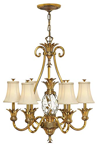 Hinkley 4886BB Tropical/British Colonial Seven Light Foyer from Plantation collection in Brass-Antiquefinish,