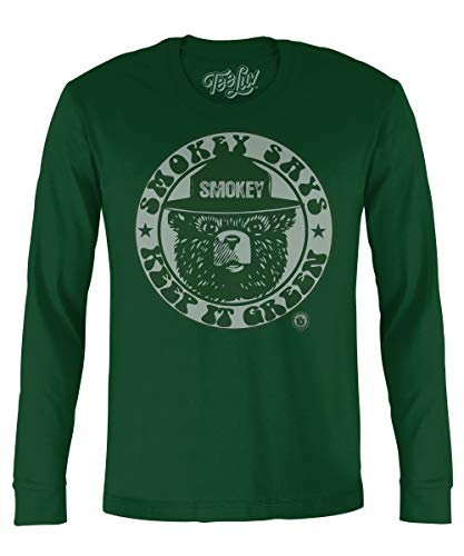 Tee Luv Smokey Bear Long Sleeve Shirt - Keep It Green Smokey Bear T-Shirt (X-Large) ()