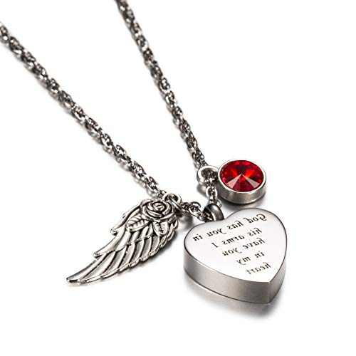 Mikash God has You in his arms with Angel Wing Charm Cremation Jewelry Keepsake Memorial Urn Necklace with Birthstone Crystal (January) | Model MMRLD - 172 |