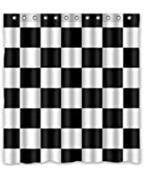 Try Everthing Special Design Black White Checkered Pattern Waterproof Bathroom Fabric Shower CurtainBathroom Decor