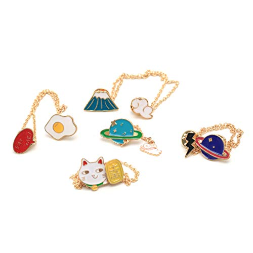 GYAYU Enamel Lapel Brooch Pin Set,Cute Cartoon Chain Pin Badges for Bags Clothes Backpacks(Multipurpose)