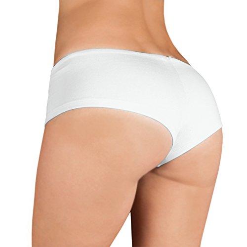Sexy Damen Hipster mit heißen Aufdruck - Hot - Dessous, Panty, Unterwäsche, Pant Short mit Kußmund Weiß