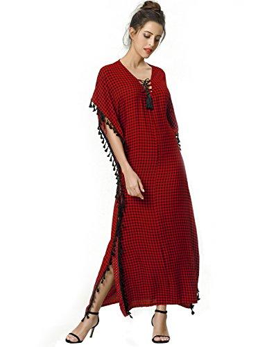 Casual Boho Rouge Floral Musulman Robe Dress Femmes Caftan Casual Kaftan Maxi imprim Style gqzSnxU