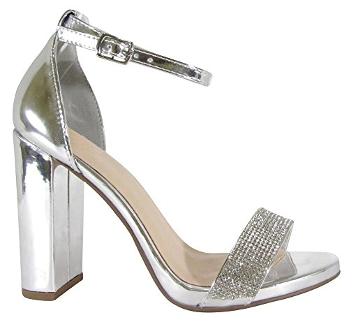 Cambridge Selezionare Donna Open Toe Fascia Singola Cristallo Strass Glitter Cinturino Alla Caviglia Grosso Blocco Tallone Sandalo Argento Pu