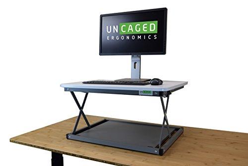 (CHANGEdesk MINI Small Adjustable Height Standing Desk Converter for Laptop Macbook Single Monitor Desktop Computer portable lightweight ergonomic sit stand up corner riser affordable compact)