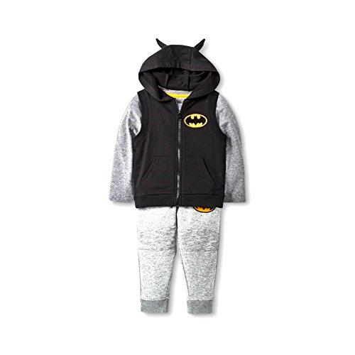 [Size 3T- Batman Outfit for Toddlers -3 Piece- Includes Vest, T-shirt and Sweat Pant Set - Grey/Black -] (Boys Batman Outfit)