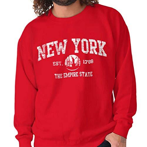 (New York State Vintage EST Retro Hometown Fleece Sweatshirt Red)