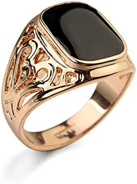 18K Gold Plated Enamel Signet Pinky Men Ring Luxury Jewelry Size 6-14