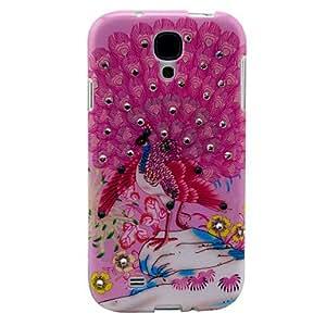 WQQ Patrón Pretty Pink Peacock Apertura del estuche rígido durable para Samsung Galaxy S4 i9500