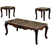 Furniture of America Margaux 3-Piece French Style Accent Table Set with Faux Marble Tops, Dark Cherry Finish