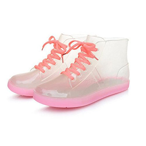 Haodasi Colors Transparent Pink Women Boots Rubber Candy Summer Ladies Rainboots Rain Shoes TIqIrBw