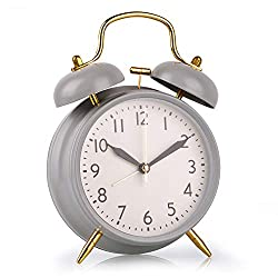 Loud Alarm Clock for Boys, 4 Inch Silent Non-Ticking Quartz Double Twin Bell Alarm Clock Battery Operated Classic Tabletop Desk Alarm Clock for Bedroom