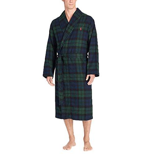 Polo Ralph Lauren Mens Plaid Flannel Long Robe Green S