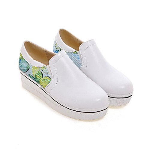 Allhqfashion Womens Pull On Pu Tacco Tacco Chiuso Tacchi Assortiti Colore Scarpe-scarpe Bianche