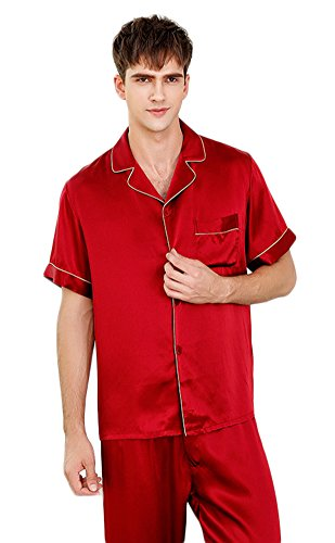 Luxury Silk Pajamas Sets Short Sleeve Beautiful Gifts for Husband Red M by Colorful Silk