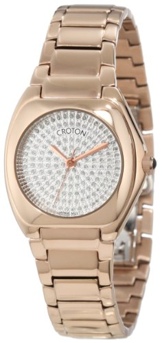 Croton Women's CN207315INRG Czarina Paved White Diamond Dial Rose Gold Tone Ion-Plated Stainless Steel ()