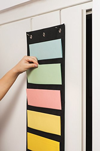 Hanging File Organizer By IQ Storage: 10 Pocket Wall Mounted Folder Holder, With 2 Door Hooks, For Organizing Papers, Documents Supplies In Classroom, Office And Nursery - Heavy Duty 600D Polyester Photo #7