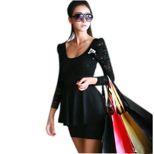 Zehui Womens Lace Mini Clubbing Cocktail Party Dress Black US6