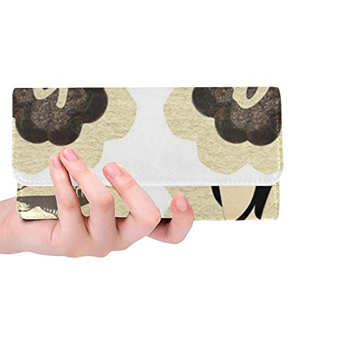 Unique Custom Beach Fish Sand Tag Label Scrapbook Collage Women Trifold Wallet Long Purse Credit Card Holder Case Handbag