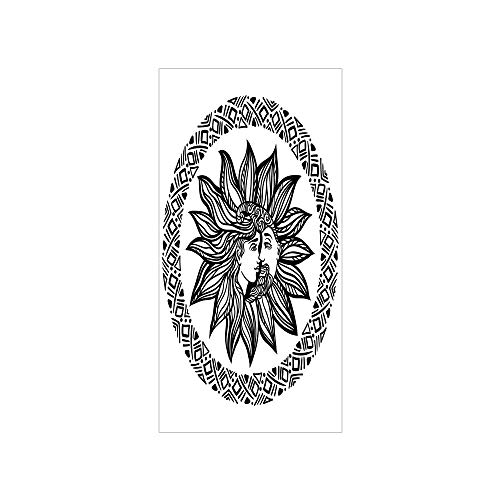 3D Decorative Film Privacy Window Film No Glue,Sun and Moon,Bohemian Tattoo Design Alchemy Occult Symbol Boho Chic Hipster Spiritual Decorative,Black and White,for Home&Office