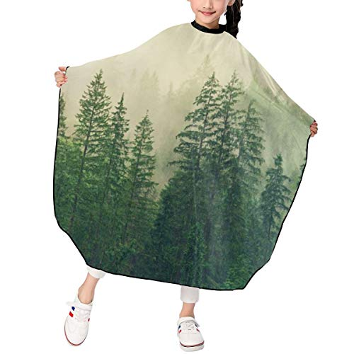 Greatmindo Professional Hair Salon Cape with Snap Closure Kids Fog Coniferous Forest Spruce Forest Green 3947 in Haircut Cape Apron for Styling Hair Cut Hairdresser Barbershop Supplies