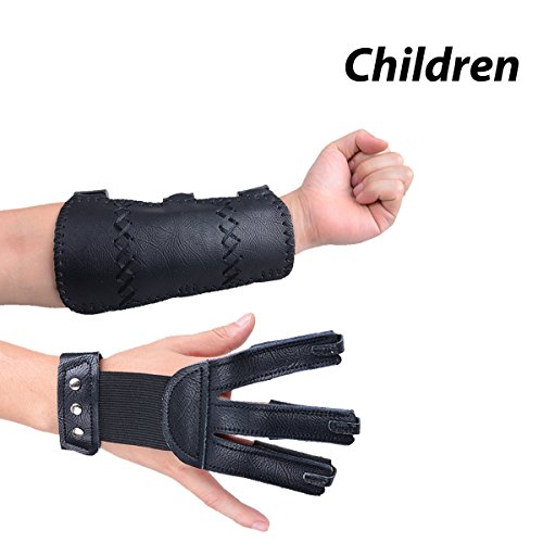 XTACER (Leather Finger Protector & Arm Guard 3-Strap Ventilated Finish Arm Guard with Three Fingers Design Archery Finger Protector Black - Leather (for Children)