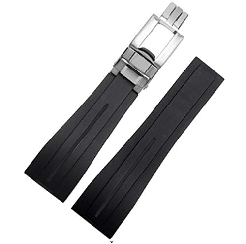 20mm/21mm Rubber Watch Strap Band Deployment Buckle Replacement fits Rolex Yacht Master Oysterflex Submariner GMT Daytona 5513/16800/14060/16610/16613/14060M (21mm, Black(Silver Buckle)) - Gmt Rubber Strap Watch