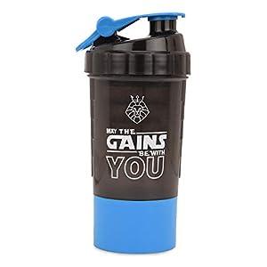 Lioncrown Gains 600ml Gym Spider Protein Shaker Bottle, Premium BPA Free, Leak Proof Sports Water Bottle