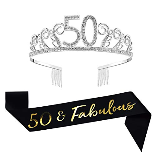 50th Birthday Decorations Party Supplies Birthday Tiara and Sash Black Glitter Satin Sash and Crystal Tiara Birthday Crown for 50th Birthday Party Supplies and Decorations 50th Birthday Cake Topper