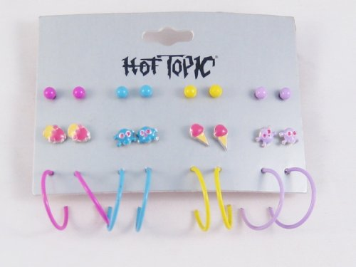 Very Cool 12 Piece Set Stud Skull Ice Cream Hoop Earrings
