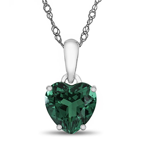 10k White Gold 7mm Heart Shaped Simulated Emerald Pendant Necklace (Emerald Heart Shaped Pendant)