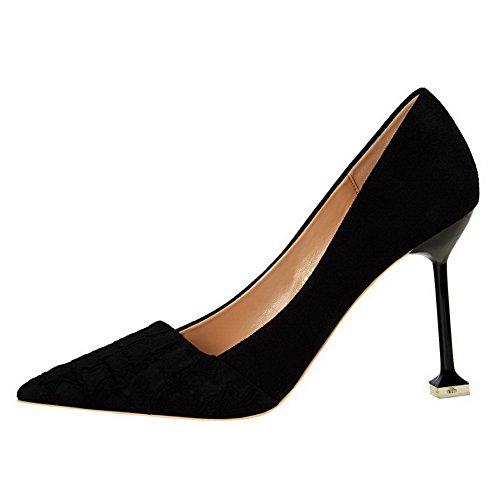 Donne Solido Camoscio tacco on Ha Nero Chiuso Pull Pompe Weipoot Imitata Punta shoes Delle Alto ZqEwESrP