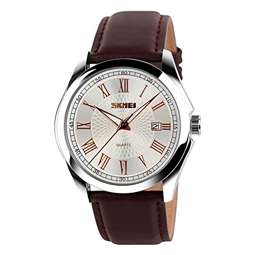 IJAHWRS Men's Classic Quartz Wrist Watch,Roman Numeral Business Watch Casual Analog Watches Waterproof with Leather Band (Brown)