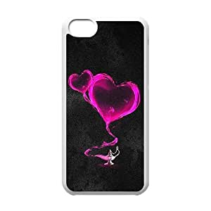 Okaycosama Funny IPhone 5C Cases Two Pink Hearts for Boys, Protective Case for Iphone 5, {White}