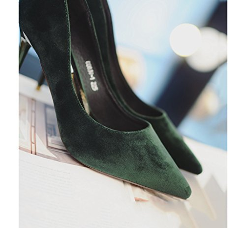 Comfortable Shoes Size Heels 9cm Elegant Toe Suede Wedding Color Pink Feminine Shallow Shoes Green 38 Work Pointed Sexy Mouth Shoes High qxFn68gCw