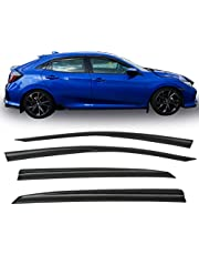 Window Visor Fits 2016-2018 Honda Civic Hatchback | 5DR ABS Rain Vent Shade Wind Deflector by IKON MOTORSPORTS | 2017